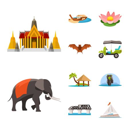 Vector design of thailand and travel icon. Collection of thailand and culture vector icon for stock.