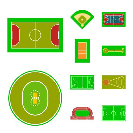 Vector illustration of field and plan icon. Collection of field and grass stock symbol for web. Standard-Bild - 128286092