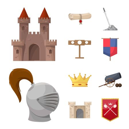 Vector design of medieval and history symbol. Set of medieval and tournament vector icon for stock.