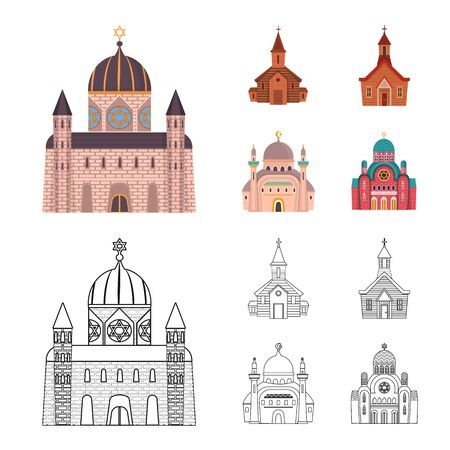 Vector design of cult and temple icon. Collection of cult and parish stock vector illustration. Ilustração
