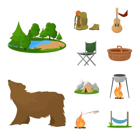 Vector illustration of picnic and adventure symbol. Set of picnic and nature vector icon for stock.