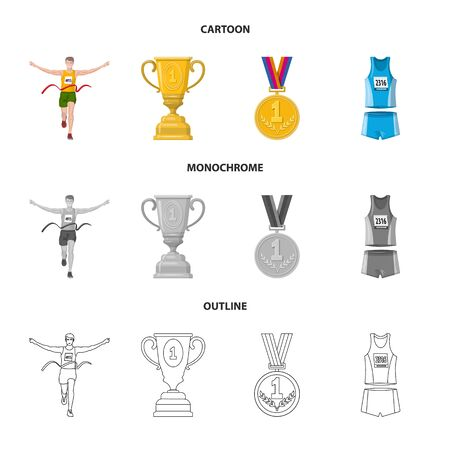 Isolated object of sport and winner icon. Set of sport and fitness vector icon for stock.