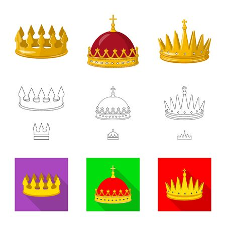 Isolated object of medieval and nobility sign. Collection of medieval and monarchy vector icon for stock.