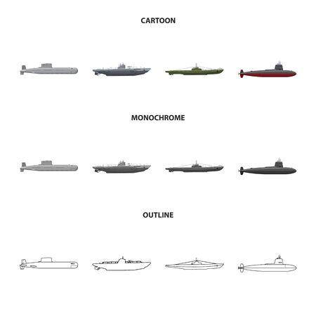 Vector design of war and ship symbol. Set of war and fleet stock vector illustration.