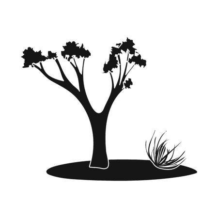 Vector design of tree and tumbleweed symbol. Collection of tree and western vector icon for stock.