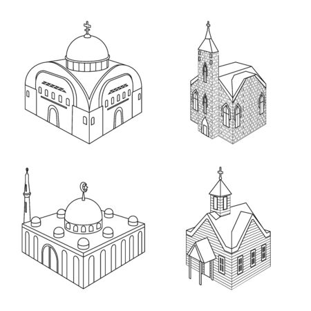 Isolated object of architecture and building icon. Collection of architecture and clergy stock vector illustration. 矢量图像
