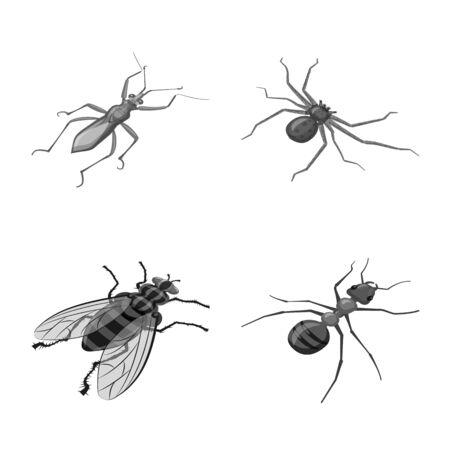 Objeto aislado de signo pequeño y animal. Colección de ilustraciones vectoriales pequeñas y de vida silvestre. Ilustración de vector
