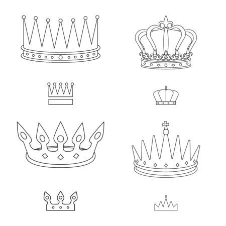Isolated object of queen and heraldic sign. Collection of queen and vip stock symbol for web.