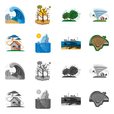 Vector design of natural and disaster icon. Collection of natural and risk stock symbol for web.