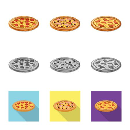 Vector design of pizza and food logo. Collection of pizza and italy vector icon for stock.
