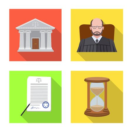 Vector illustration of law and lawyer icon. Set of law and justice stock symbol for web. Standard-Bild - 128283034