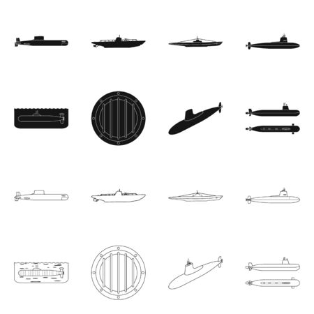 Vector illustration of war and ship symbol. Collection of war and fleet vector icon for stock. Vettoriali