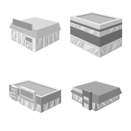 Isolated object of construction and showcase logo. Set of construction and architecture stock vector illustration. Illustration