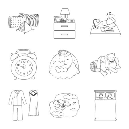 Isolated object of dreams and night sign. Collection of dreams and bedroom stock vector illustration.