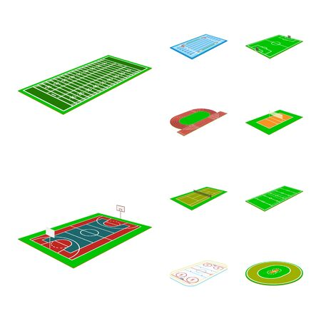 Vector design of stadium and grass logo. Collection of stadium and game stock vector illustration.