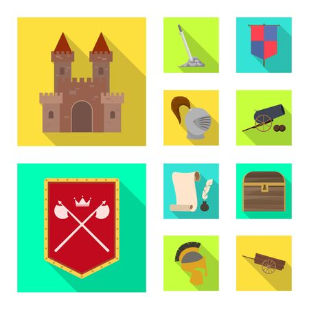 Isolated object of old and culture symbol. Collection of old and renaissance vector icon for stock.