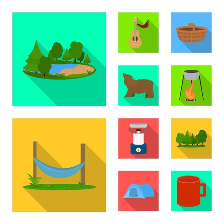 Vector illustration of tourism and excursions symbol. Set of tourism and rest vector icon for stock. Ilustrace