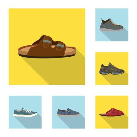 Vector illustration of shoe and footwear sign. Collection of shoe and foot stock vector illustration. Vektorové ilustrace