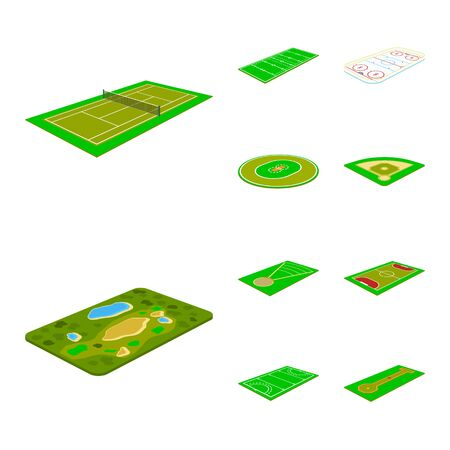 Isolated object of stadium and grass sign. Collection of stadium and game stock vector illustration. 向量圖像