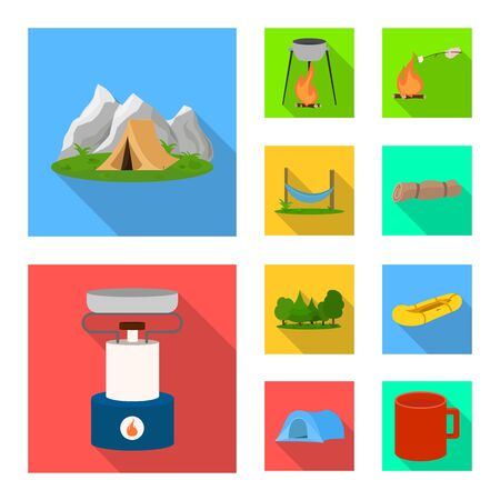 Vector illustration of tourism and excursions icon. Set of tourism and rest vector icon for stock.