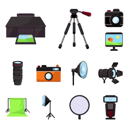 Vector illustration of studio and photo icon. Collection of studio and equipment stock vector illustration.