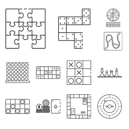 Vector illustration of puzzle and jackpot icon. Collection of puzzle and luck vector icon for stock. Ilustração