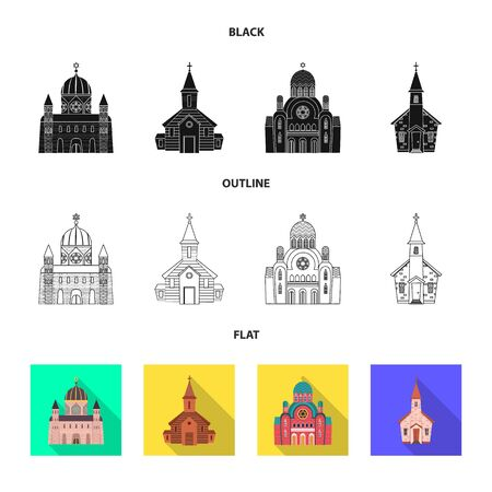 Vector design of cult and temple icon. Set of cult and parish vector icon for stock. Ilustração