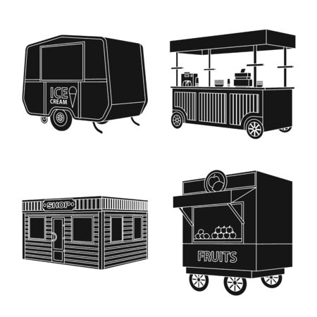 Vector design of container and outdoor icon. Set of container and kiosk stock symbol for web. Illustration