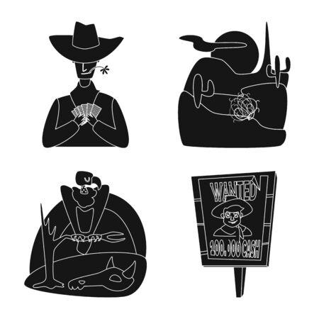 Objeto aislado de peligro y signo de cultura. Conjunto de símbolo de peligro y oeste para web. Ilustración de vector