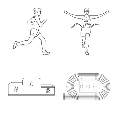 Isolated object of exercise and sprinter sign. Collection of exercise and marathon vector icon for stock.