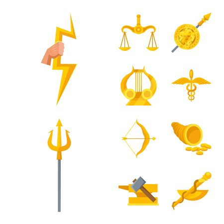 Vector design of attributes and greek icon. Set of attributes and god stock symbol for web. Vettoriali