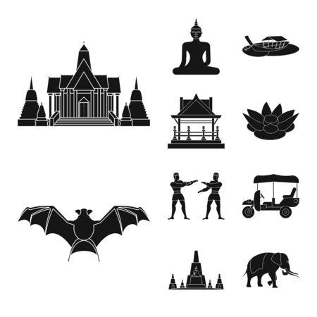 Geïsoleerd object van land en nationaal teken. Set van land en reizen aandelensymbool voor web. Vector Illustratie