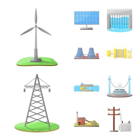Isolated object of energy and alternative logo. Collection of energy and development stock vector illustration. Иллюстрация