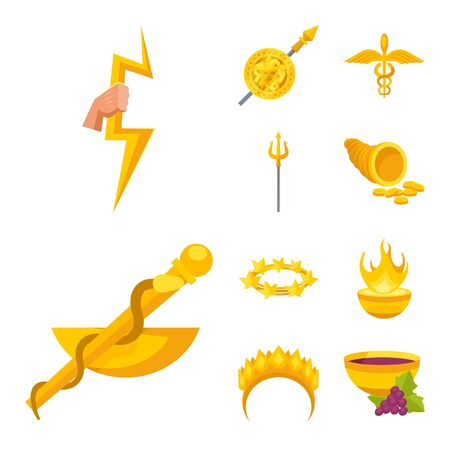 Vector design of attributes and greek sign. Set of attributes and god vector icon for stock. Stock Vector - 128278922