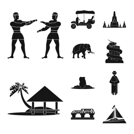 Vector illustration of country and national icon. Collection of country and travel vector icon for stock. 向量圖像