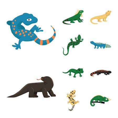 Conception de vecteur de signe d'animal et de reptile. Collection de symbole boursier animal et nature pour le web. Vecteurs