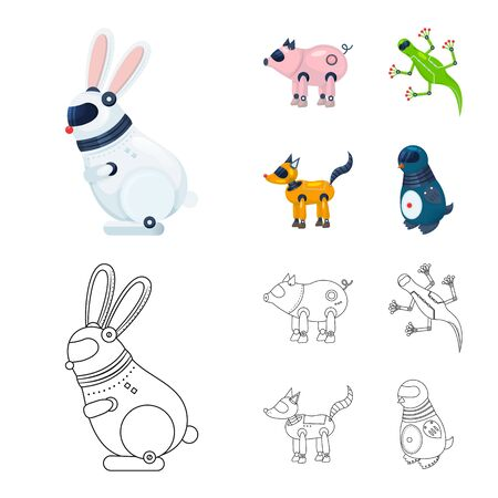 Vector illustration of toy and science set. Collection of toy and toy vector icon for stock.