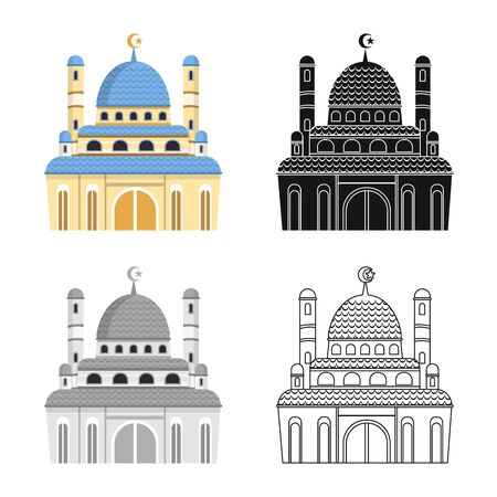 Vector illustration of mosque and church sign. Collection of mosque and muslim stock symbol for web.