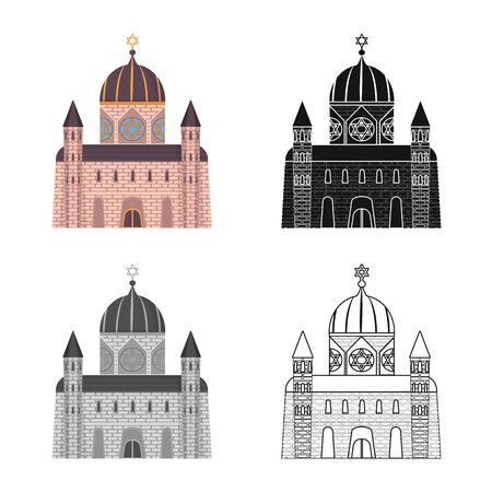Vector illustration of synagogue and jewish logo. Collection of synagogue and old stock vector illustration. Archivio Fotografico - 128279025
