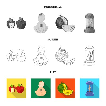 Vector design of test and synthetic symbol. Set of test and laboratory stock vector illustration. Illustration
