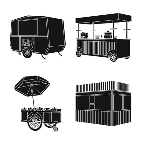 Vector design of container and outdoor symbol. Set of container and kiosk vector icon for stock.
