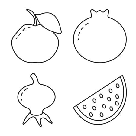 Vector design of healthy and ripe  fruit. Collection of healthy and harvest stock symbol for web. Illustration