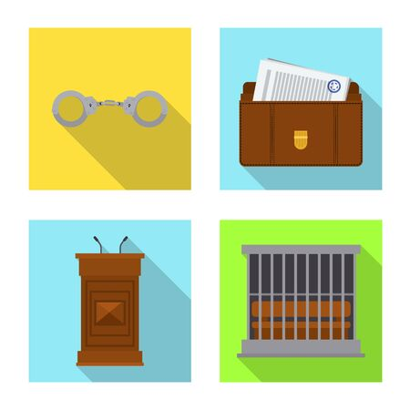 Vector design of law and lawyer  . Collection of law and justice vector icon for stock. Standard-Bild - 128100360