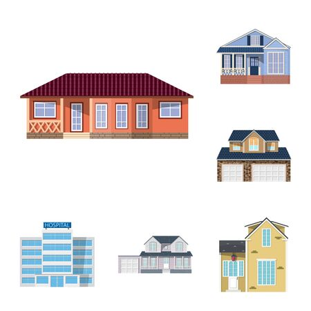 Vector design of building and front icon. Set of building and roof vector icon for stock.