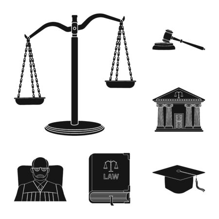 Vector illustration of law and lawyer symbol. Set of law and justice stock symbol for web.