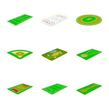 Vector design of stadium and grass sign. Set of stadium and game stock symbol for web.
