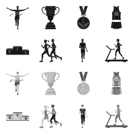 Ilustracja wektorowa logo sportu i zwycięzcy. Zestaw sport i fitness wektor ikona na magazynie. Logo