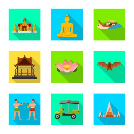 Isolated object of journey and exotic symbol. Set of journey and national vector icon for stock. Vector Illustratie