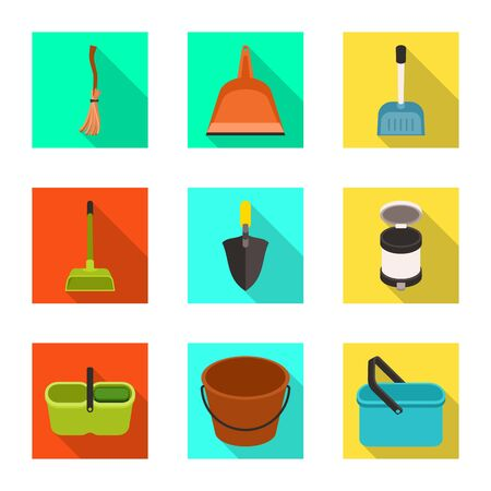 Isolated object of cleanup and household logo. Set of cleanup and washing stock vector illustration. Stock Illustratie