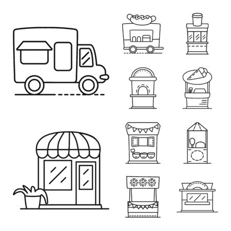 Vector design of vending and public symbol. Collection of vending and storefront stock vector illustration. Illustration